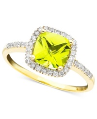 Macy's 10K Gold Peridot 1 1 3 Ct. T.W. And Diamond 1 5 Ct. T.W. Ring