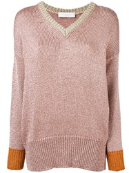Giada Benincasa Lurex V Neck Sweater Women Polyester Viscose M Pink Purple