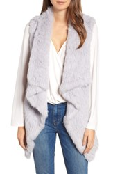 Love Token Long Drape Genuine Rabbit Fur Vest Lavender