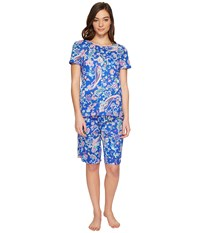 Lauren Ralph Lauren Short Sleeve Bermuda Pj Set Royal Blue Paisley Women's Pajama Sets Navy