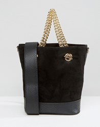 New Look Gold Chain Bucket Bag Black