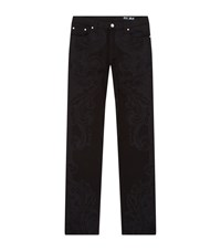 Versace Collection Baroque Print Slim Jeans Male Black