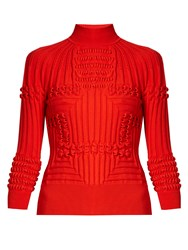 Mary Katrantzou Hardy Roll Neck 3 D Knit Sweater Red