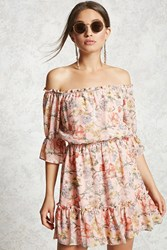 Forever 21 Contemporary Floral Mini Dress Peach Yellow
