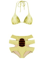 Adriana Degreas Triangle Bikini Set Green