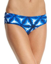 Michael Michael Kors Shirred Side Printed Swim Bottom New Navy