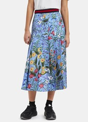 Gucci Floral Pleated Skirt Blue