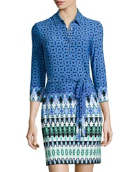 Ali Ro Geometric Print Shirtdress W Belt Blue Multicolor