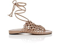 Alumnae Knotted Suede Thong Sandals Rose