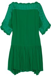 Etoile Isabel Marant Aude Embroidered Georgette Mini Dress Forest Green