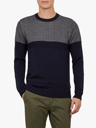6ab62a55c8fad5 Ted Baker Yeting Interest Stitch Crew Neck Jumper Navy Blue