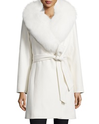 Sofia Cashmere Fur Collar Belted Wrap Coat
