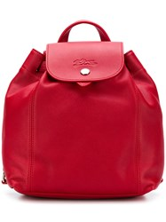 Longchamp Snap Button Fastening Backpack Red
