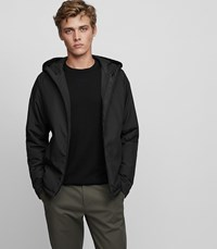 Reiss Cassidy Lightweight Hooded Jacket In Black Mens