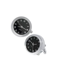 Link Up Silvertone Working Watch Cuff Links Black