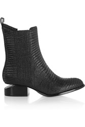 Alexander Wang Anouck Glossed Crocodile Effect Ankle Boots Black