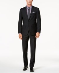 Tallia Slim Fit Black Mini Grid Peak Lapel Wool Suit