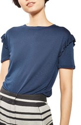 Topshop Women's Frill Sleeve Tee Navy Blue
