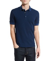 Tom Ford Short Sleeve Pique Oxford Polo Shirt Blue