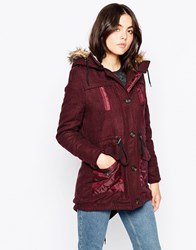 Bellfield Longline Parka With Faux Fur Hood And Pu Pockets Burgundy