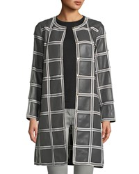 Escada Grid Pattern Snap Front Lamb Leather Topper Coat Gray