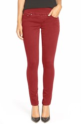 Petite Women's Jag Jeans 'Nora' Knit Denim Pull On Skinny Jeans Red