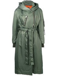 Bacon Hooded Belted Rain Coat Green