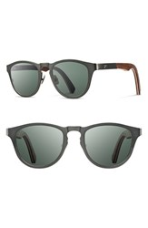 Men's Shwood 'Francis' 49Mm Polarized Titanium And Wood Sunglasses Gunmetal Walnut