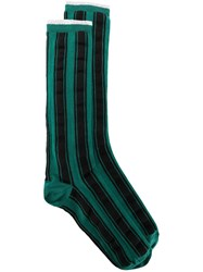 Haider Ackermann Striped Socks Green