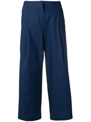 Etro Cropped High Waisted Trousers Blue