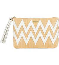 Melissa Odabash Crete Woven Raffia And Leather Clutch Bag Beige White