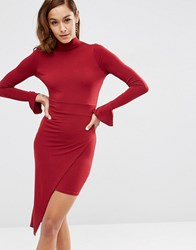 Asos High Neck Fluted Sleeve Midi Dress Oxblood Red