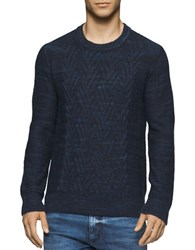 Calvin Klein Jeans Space Dyed Cable Crew Sweater Classic Navy