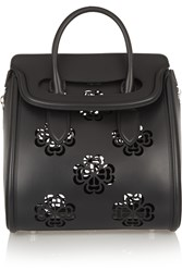 Alexander Mcqueen The Heroine Large Laser Cut Leather Tote Black