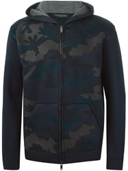 Valentino Camouflage Front Hoodie Blue