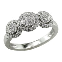 Ewa 18Ct White Gold Diamond Triple Cluster Engagement Ring