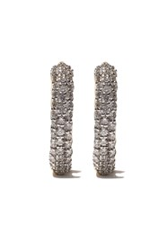 David Yurman 18Kt Yellow Gold Petite Pave Diamond Huggie Hoop Earrings Metallic