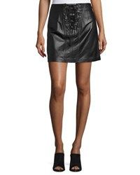 Derek Lam Laced Leather Mini Skirt Black