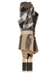 Burberry Trafalgar Checked Folding Umbrella Camel