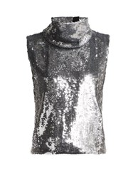 Halpern Sequinned Roll Neck Top Silver