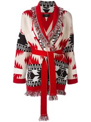 Alanui Aztec Pattern Cardigan Red