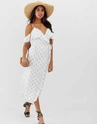 The Jetset Diaries Boho Rhapsody Cold Shoulder Maxi Dress White