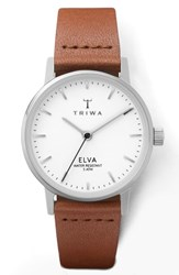 Triwa Pearl Elva Leather Strap Watch 28Mm Brown White Silver