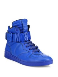 Moschino Calf Leather High Top Sneakers Blue