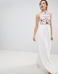 Frock And Frill High Neck Maxi Dress With Rainbow Embellishment White