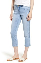Wit And Wisdom Embroidered Side Seam Crop Jeans Light Blue