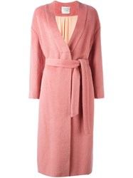 Forte Forte Belted Midi Coat Pink Purple