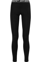 Off White Perforated Stretch Jersey Leggings Black