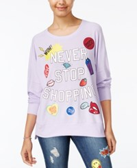 Rampage Juniors' Never Stop Shopping Oversized Graphic Sweatshirt Lilac