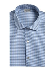 Kenneth Cole Reaction Techni Slim Fit Checked Dress Shirt Blue